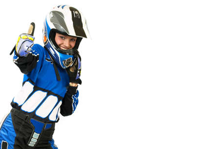 biker girl: Attractive sexy woman in motoracer uniform.  Isolated over white background Stock Photo