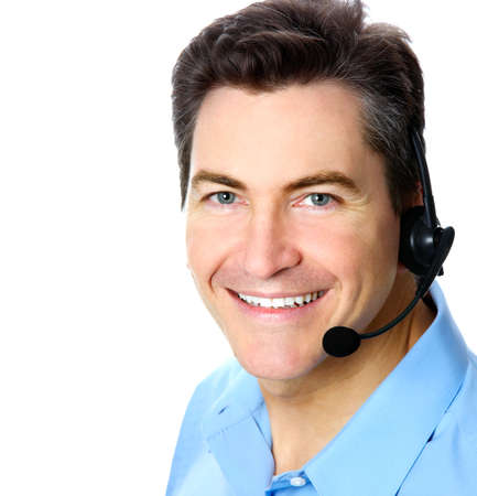 Smiling customer service operator. Over white background 