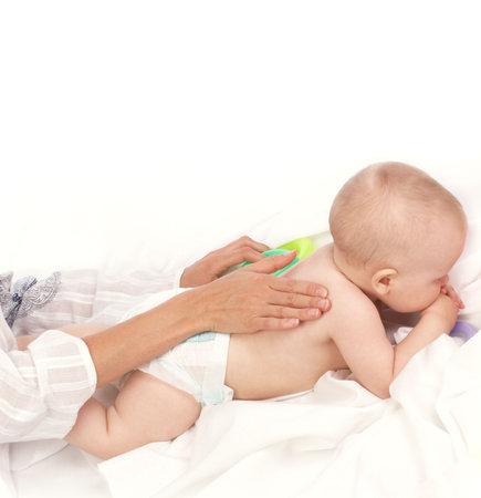 Baby-minding. Isolated over white background  photo
