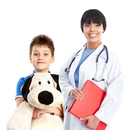 pediatrist: Smiling family medical doctor and a child. Over white background
