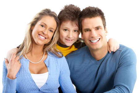 Happy family. Father, mother and boy. Over white background Stock Photo - 4668493