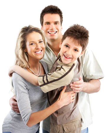 Happy family. Father, mother and boy. Over white background Stock Photo - 4668523