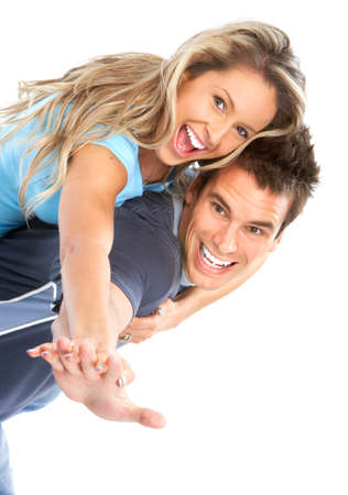 Happy smiling couple in love. Over white background Stock Photo - 4668459