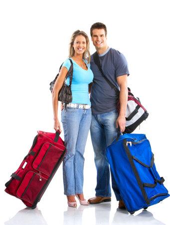 mujer con maleta: Feliz sonriente joven en el amor. M�s de fondo blanco Foto de archivo