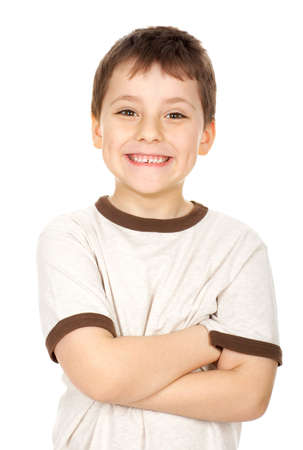 Funny smiling boy. Isolated over white background  photo