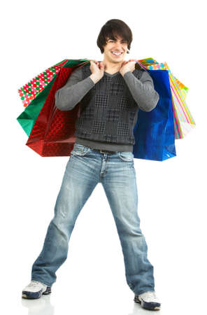 shopping man: Happy shopping man. Isolated over white backfround