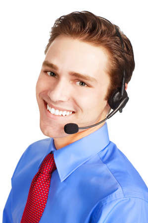 customer service representative: Smiling customer service operator. Over white background