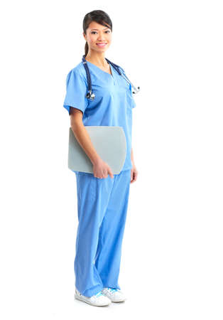 Smiling medical nurse with stethoscope. Isolated over white background  photo