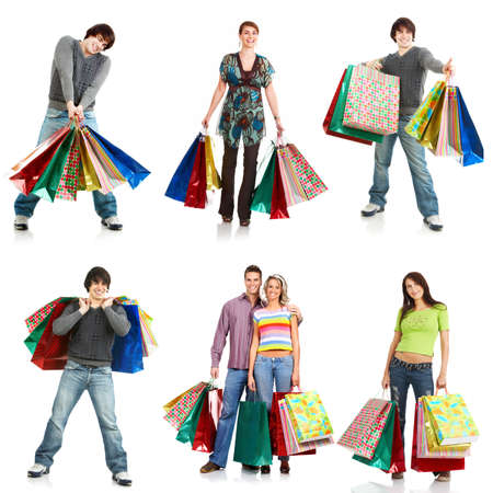Shopping people . Isolated over white background  photo