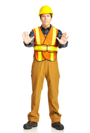 Mature handsome builder in yellow uniform. Isolated over white background