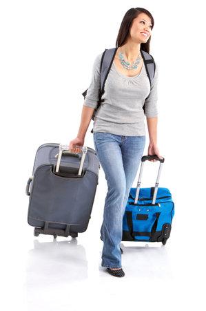 viajero: Feliz tur�stico mujer. Aislado sobre fondo blanco Foto de archivo