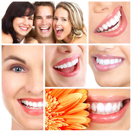 toothy: Man and woman smiles. Over  white background