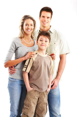 Happy family. Father, mother and boy. Over white background Stock Photo - 4752404