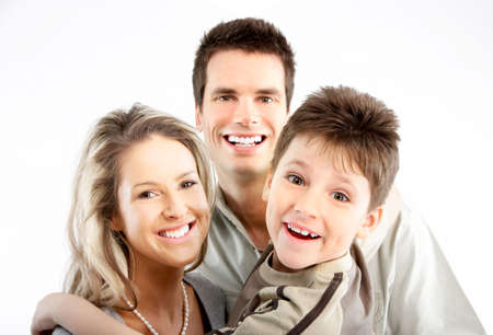 Happy family. Father, mother and boy. Over white background Stock Photo - 4752440
