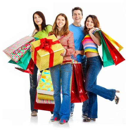chicas de compras: Feliz la gente de compras. Aislado sobre fondo blanco Foto de archivo