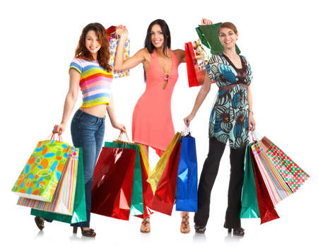 Happy shopping people. Isolated over white background