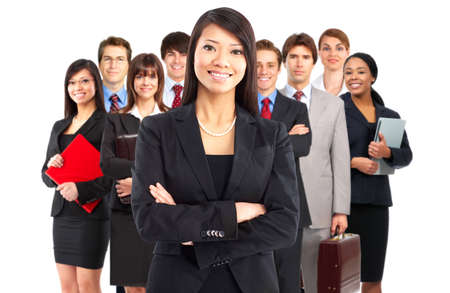 Large group of young smiling business people. Over white background Stock Photo - 4780846