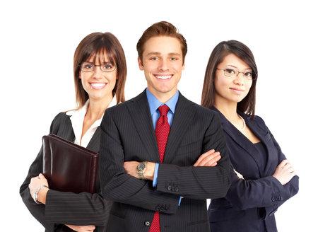 Groep jonge lachende mensen uit het bedrijfsleven. Over witte achtergrond