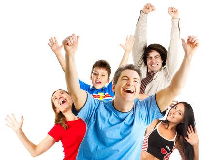 persona saltando: Feliz gracioso personas. Aislado sobre fondo blanco
