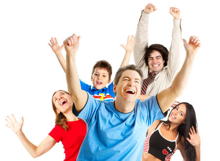 celebrate: Happy funny people. Isolated over white background