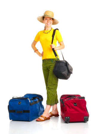 Happy tourist woman . Isolated over white background Stock Photo - 4780797