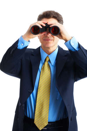 businessman  with binoculars looking to the future  photo