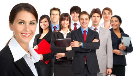 study group: Large group of young smiling business people. Over white background