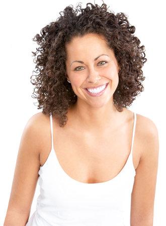 Belle jeune femme souriante. Isolé sur fond blanc Banque d'images