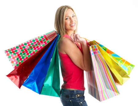 giggle: Shopping smile woman. Isolated over white background