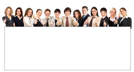 Large group of young smiling business people. Over white background Stock Photo - 4808180