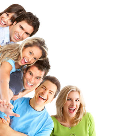 Young happy people smiling. Over white background Stock Photo - 4808176