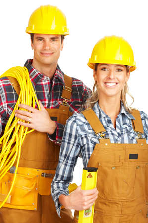 yellow: Young builder people  in yellow uniform. Isolated over white background