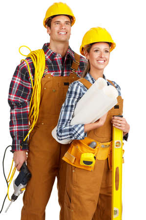 perforate: Young builder people  in yellow uniform. Isolated over white background