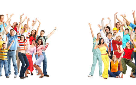 family practitioner: Happy funny people. Isolated over white background