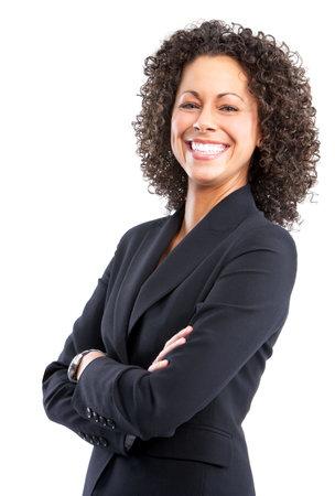 confianza: Sonriente mujer de negocios. Aislado sobre fondo blanco