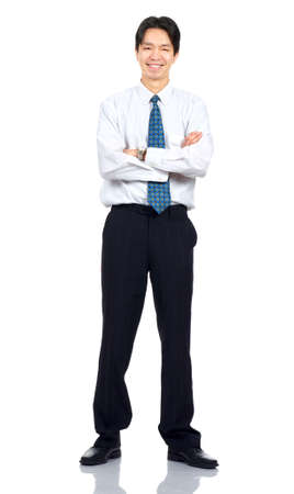 Young  smiling businessman. Isolated over white background  photo