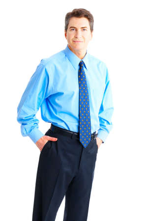 Smiling businessman. Isolated over a white background  photo