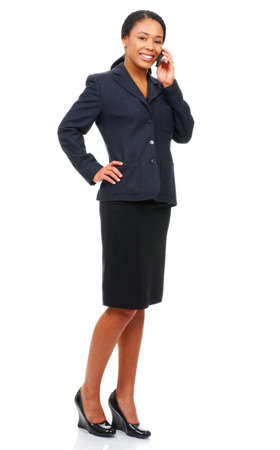 phone business: attractive young business woman calling by cellular phone.