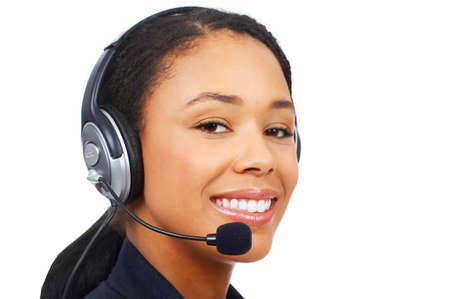 Beautiful  business woman with headset. Over white background   photo