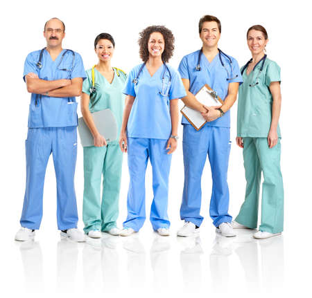 Smiling medical people with stethoscopes. Doctors and nurses over white background  Imagens