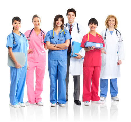 practise: Smiling medical people with stethoscopes. Doctors and nurses over white background  Stock Photo
