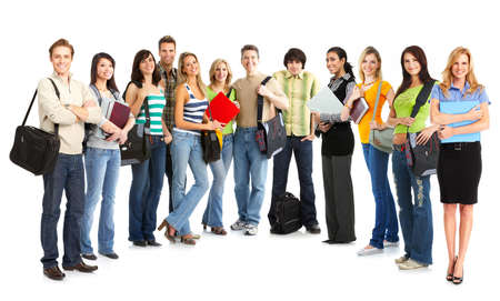 study group: Big group of the young smiling  students. Over white background