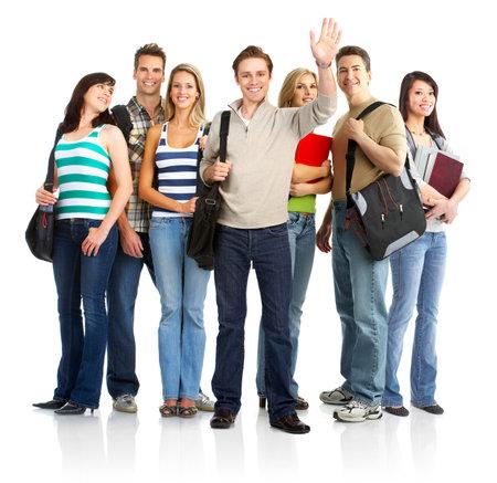 学生の笑みを浮かべて、若者のグループです。白い背景の上