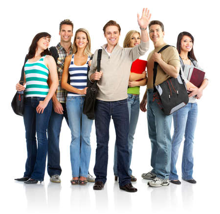study group: group of the young smiling  students. Over white background