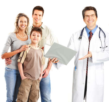 Smiling family medical doctor and young family. Over white background 스톡 콘텐츠