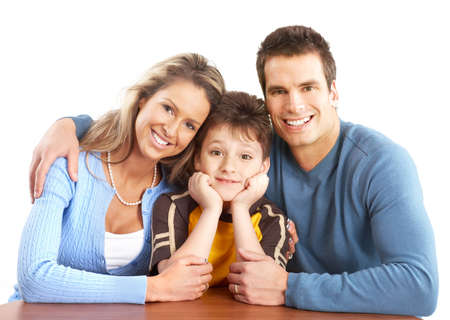 Happy family. Father, mother and boy over white background Stock Photo - 4903837