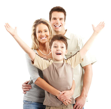 Happy family. Father, mother and boy over white background Stock Photo - 4903834