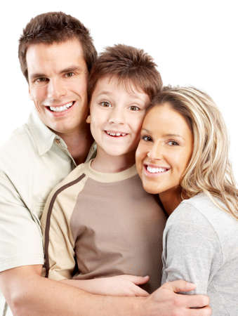 Happy family. Father, mother and boy over white background Stock Photo - 4903685