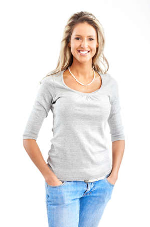 Beautiful smiling woman. Isolated over white background  Stock Photo
