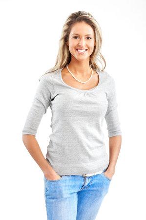 Mooie glimlachende vrouw. Geïsoleerde over witte achtergrond Stockfoto
